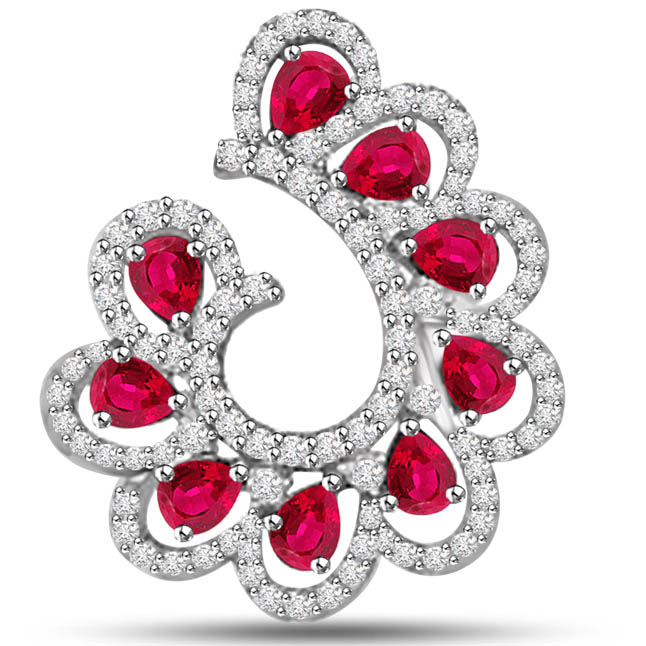 Paradise Petals 2.57 TCW Divine Diamond Ruby Pendants In White Gold -Diamond -Ruby
