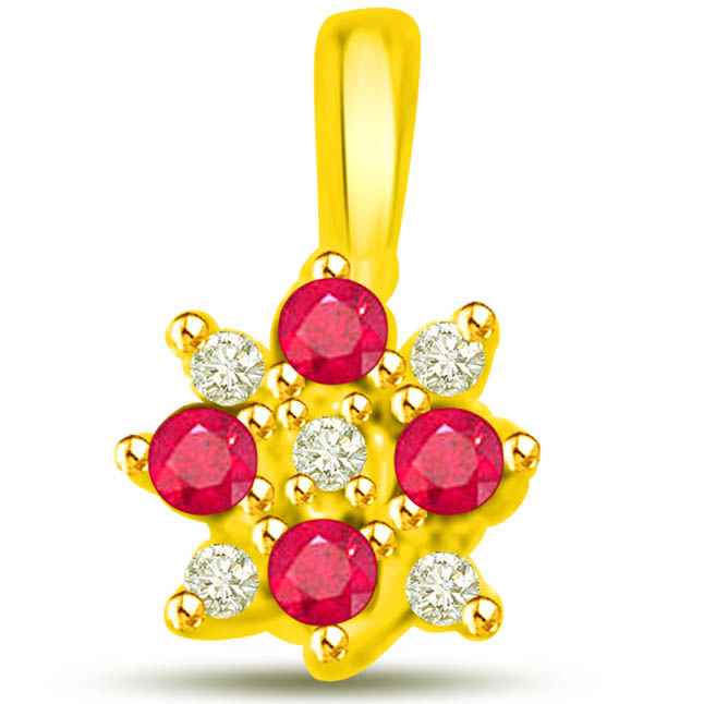 Floral Bloom 0.75 TCW Ruby Diamond Pendants In 18kt Yellow Gold -Diamond -Ruby