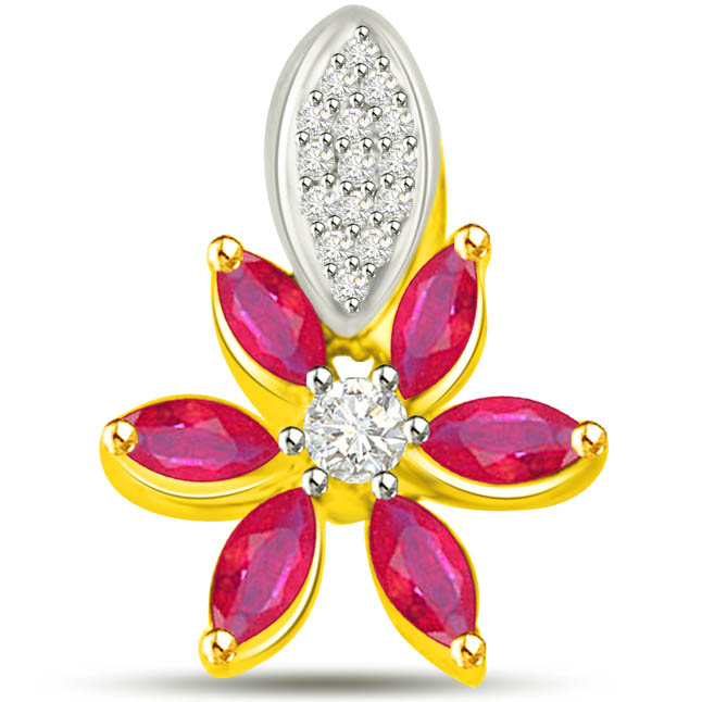 Natural Beauty 0.39 TCW Flower Shaped Ruby Diamond Pendants -Diamond -Ruby