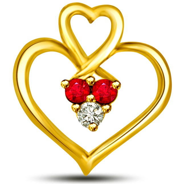 Rubal Love 0.14 TCW Heart Shaped Ruby Diamond Gold Pendants