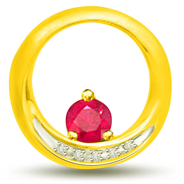 Ruby In A Round 0.18 TCW Red Ruby Diamond Pendants In Yellow Gold -Diamond -Ruby