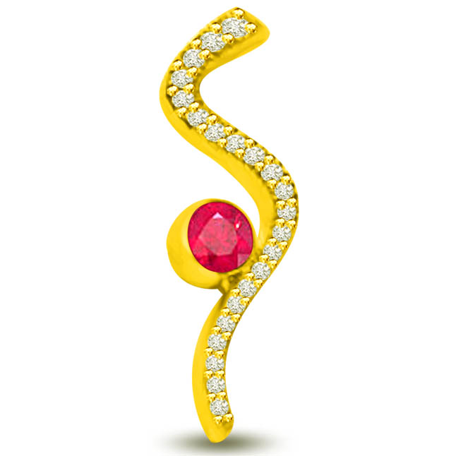 Shine in Style 0.40 TCW Red Ruby Diamond Pendants In Yellow Gold -Diamond -Ruby