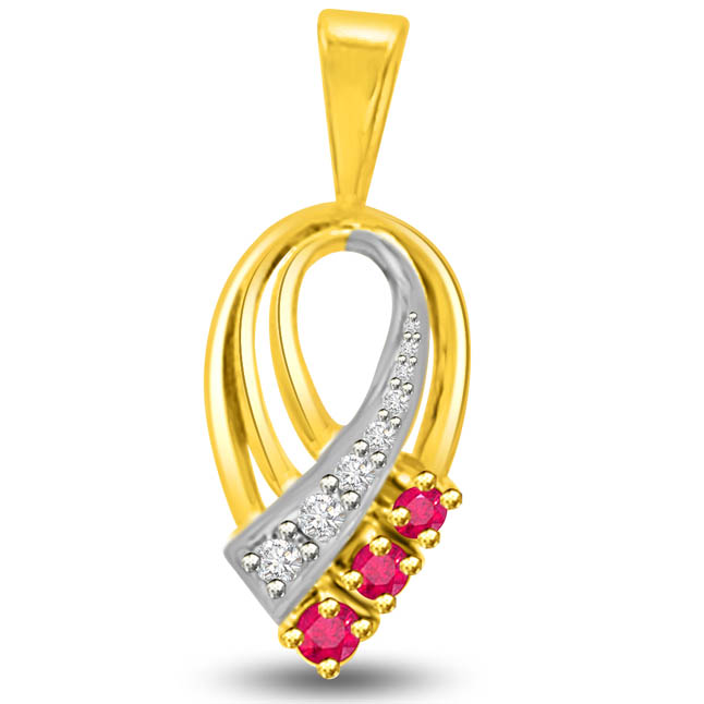 Beautiful Two Tone Gold Pendants Of Diamonds Rubies -Diamond -Ruby