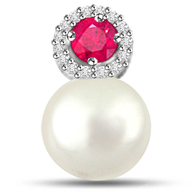 Marvelous Pearl Pendants With Diamonds Ruby -Diamond -Ruby