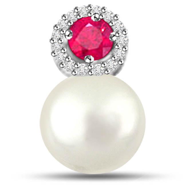Marvelous Pearl Pendants With Diamonds Ruby -Diamond -Ruby
