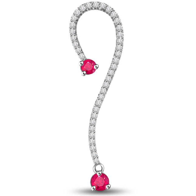 Garden Pride 0.60 TCW Ruby & Diamond Pendants In White Gold -Diamond -Ruby