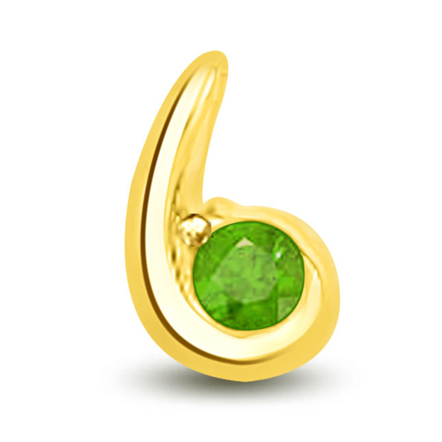 Green Desire Stunning Pendants Of Emerald In Yellow Gold -Emerald Gold Pendants