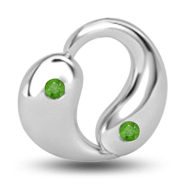 Green Dream Beautiful Emerald Pendants In 14kt White Gold -Emerald Gold Pendants