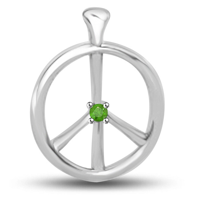 Passion Chakra Pendants In White Gold With A Round Emerald -Emerald Gold Pendants