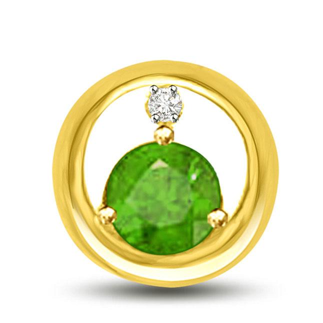 Endearings Diamond Emerald Pendants In Yellow Gold