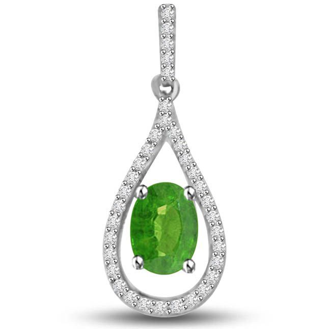 Green Lotus 0.55 TCW Emerald Diamond Drop Shaped Pendants