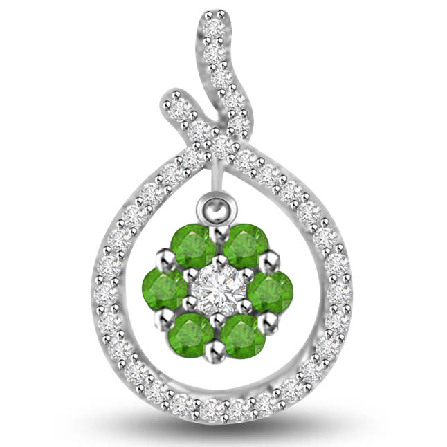 Glamour of Bride 0.47 TCW Emerald Diamond Pendants In White Gold