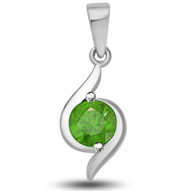 Captured Royality 0.50 TCW Elegant Emerald Pendants In 14kt White Gold -Emerald Gold Pendants