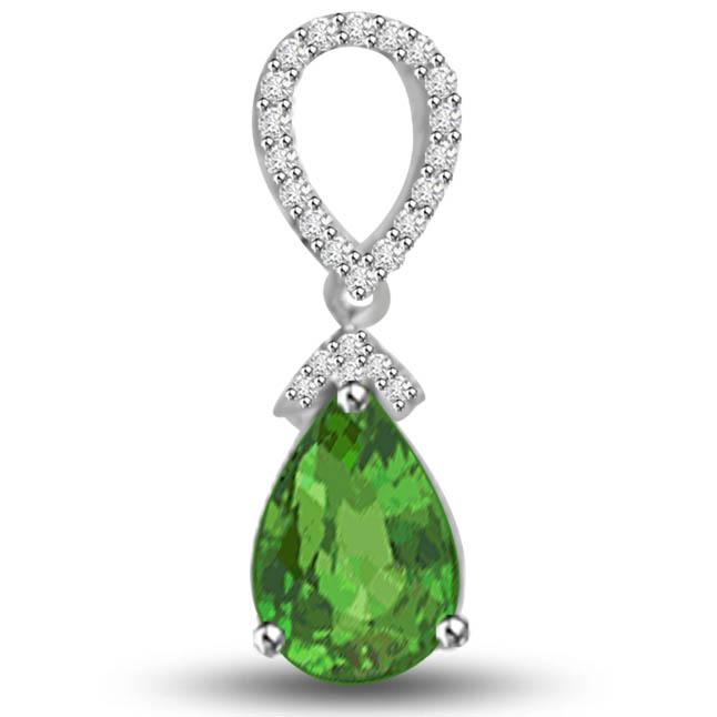 Green Drop Beauty 1.23 TCW Stunning Emerald Diamond Pendants