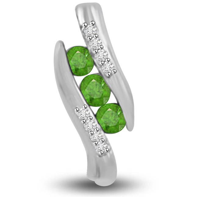 Fantasy Petals 0.57 TCW Emerald Diamond Pendants In White Gold
