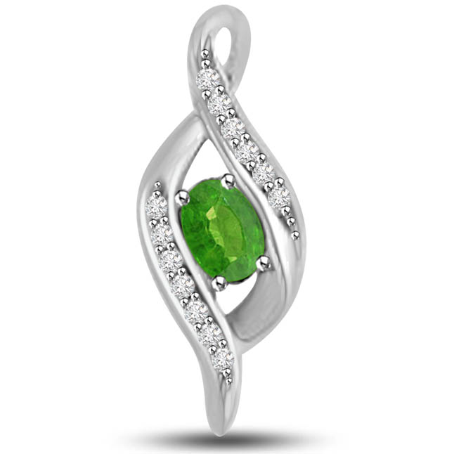 Lemonade Lake 0.30 TCW Elegant Emerald Diamond Pendants