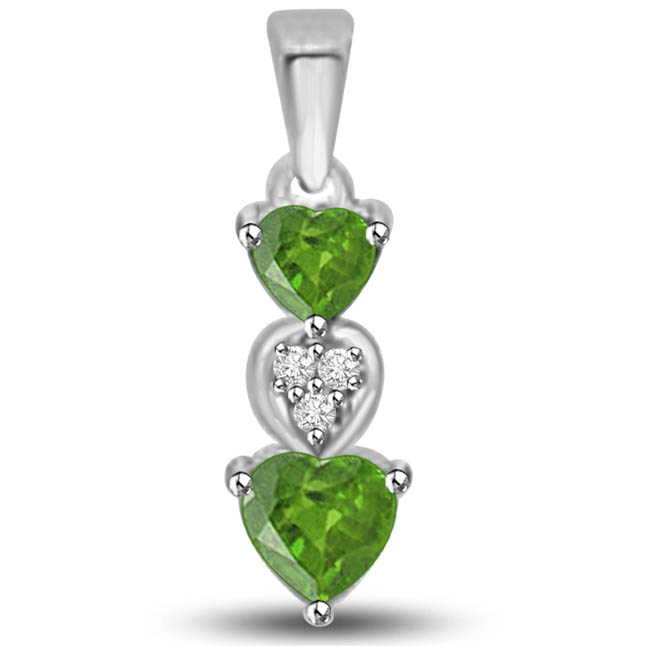 Emerald Coverleaf 0.445 TCW Heart Shaped Emerald Diamond Pendants