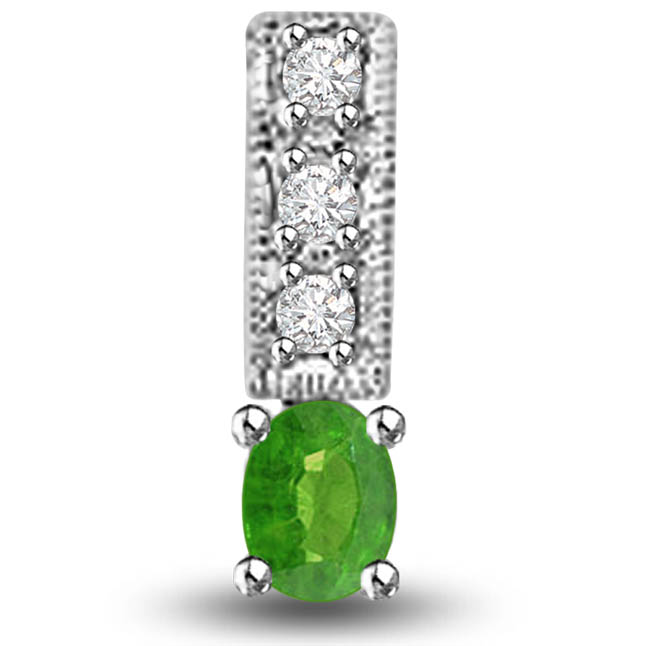 Three Sparkling Str s of Emerald 0.25 TCW Emerald Diamond Pendants In White Gold