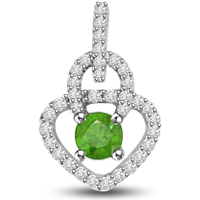 Springsy Bride 0.55 TCW Diamond Emerald Pendants In White Gold