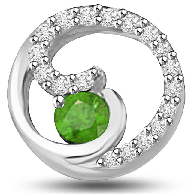 Green World 0.37 TCW Emerald Diamond Pendants In White Gold