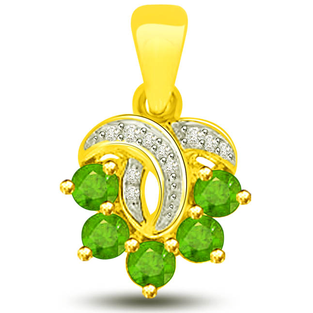 Mother's Love 0.35 TCW Stunning Emerald Diamond Pendants