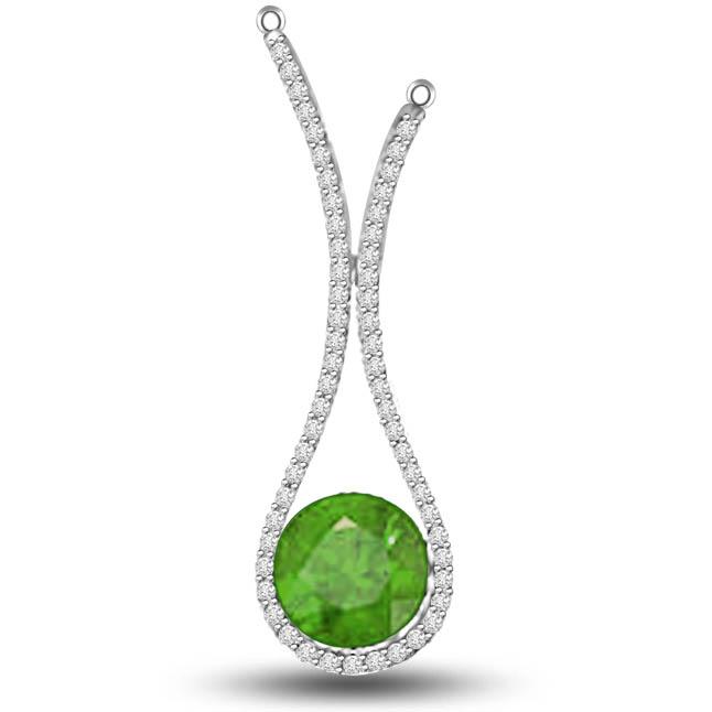 Spectrum Beauty 1.10 TCW Emerald Diamond Pendants In White Gold