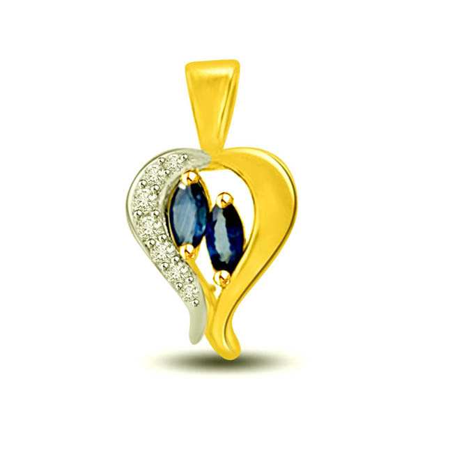 Umbrella Heart: Diamond & Sapphire Pendants for Your Love