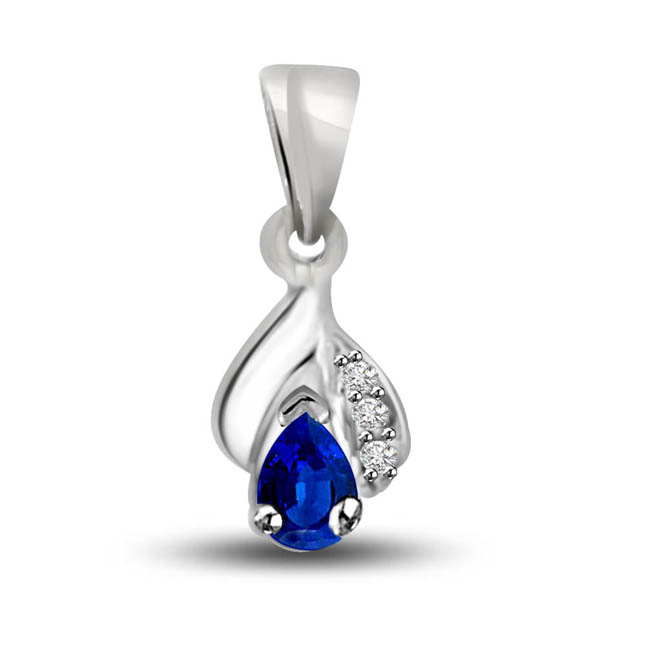 A Drop of Purity : Diamond & Sapphire Pendants