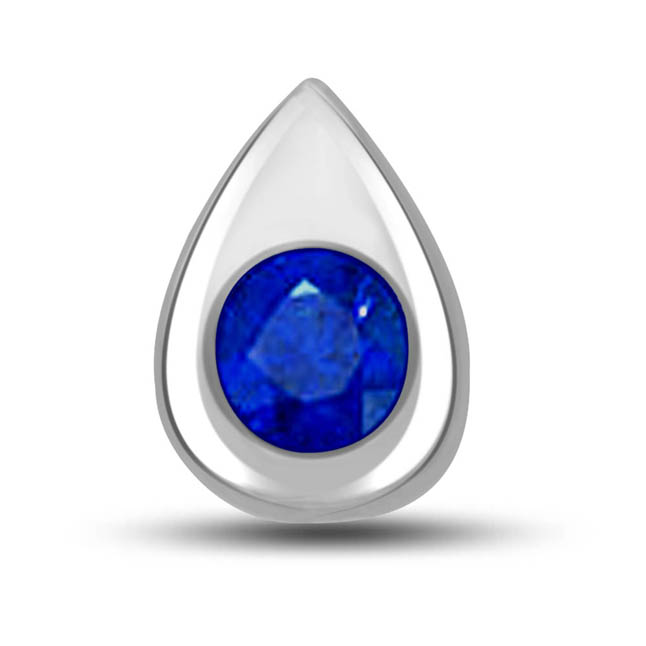Centre of Attraction: Diamond & Blue Sapphire White Gold Pendants -Teenage