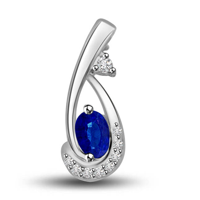 Queen of Pendants : Diamond & Blue Sapphire White Gold Pendants for Her
