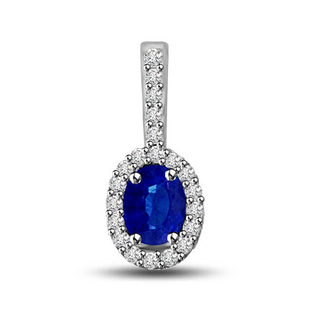 Sapphire Fantasy:Diamond & Blue Sapphire White Gold Long Solitaire Pendants