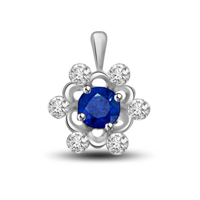 Blue Star:Diamond & Sapphire Round Starry Pendants In White Gold