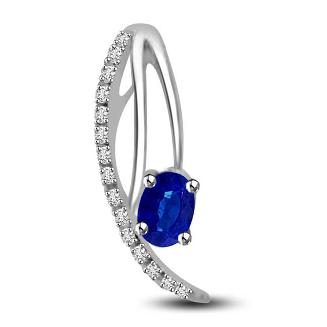 Love Blossoms:Fine Oval Blue Sapphire With Diamond & White Gold Pendants