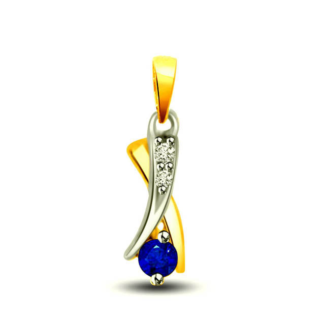 Angel's Delight Two Tone Diamond & Sapphire Pendants In 18kt Gold For Your Love