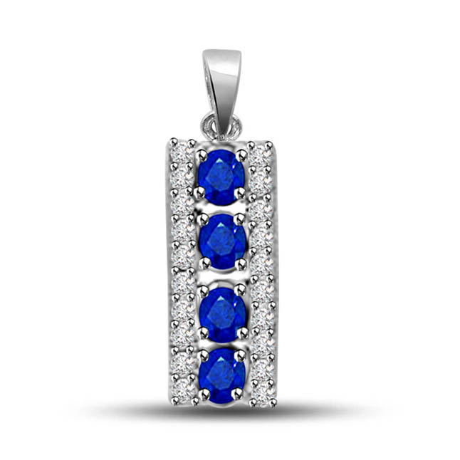 Kings Queen 0.50ct Tcw Diamond & Blue Sapphire White Gold Long Pendants