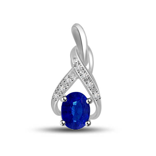 Cupids Heaven 0.20ct Tcw Oval Blue Sapphire & Diamond Pendants In White Gold