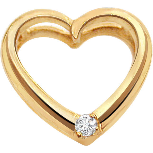 Strawberry n Cream Heart Shape Diamond Pendants in 18kt Gold