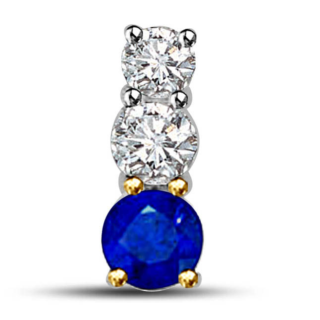 Sparkling Evening 0.35ct Big Round Diamonds & Blue Sapphire Long Pendants In 18kt