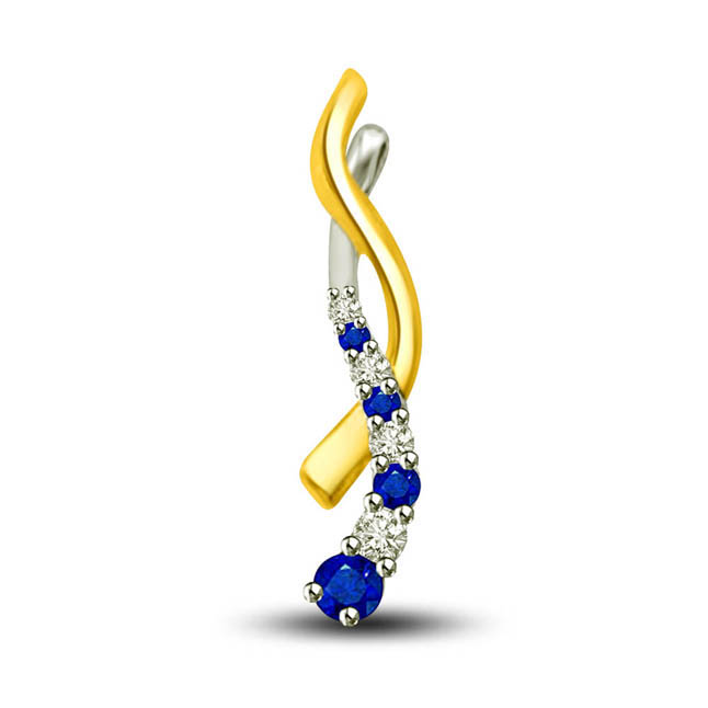 In My Arms:Two Tone Sapphire & Diamond 18kt Yellow Gold Pendants For Her