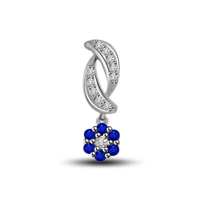 Hanging Flower Blue Sapphire & Diamond Hanging Flower With Diamond Petals 14kt Pendants