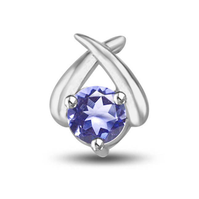 Blue Blooded Solitaire:Big Round Solitaire Sapphire & White Gold Pendants -Teenage