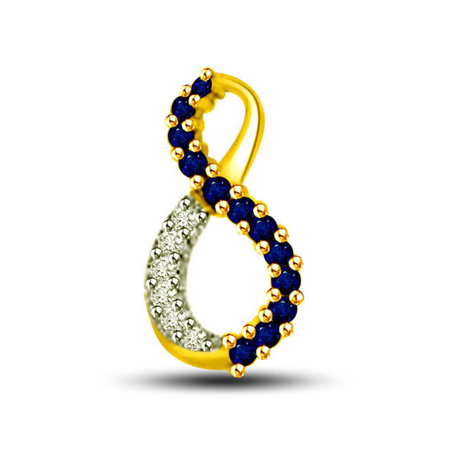 Lightening Sparkle 0.60ct Tcw Blue Round Sapphire & Diamond Two Tone 18kt Gold Pendants For Her