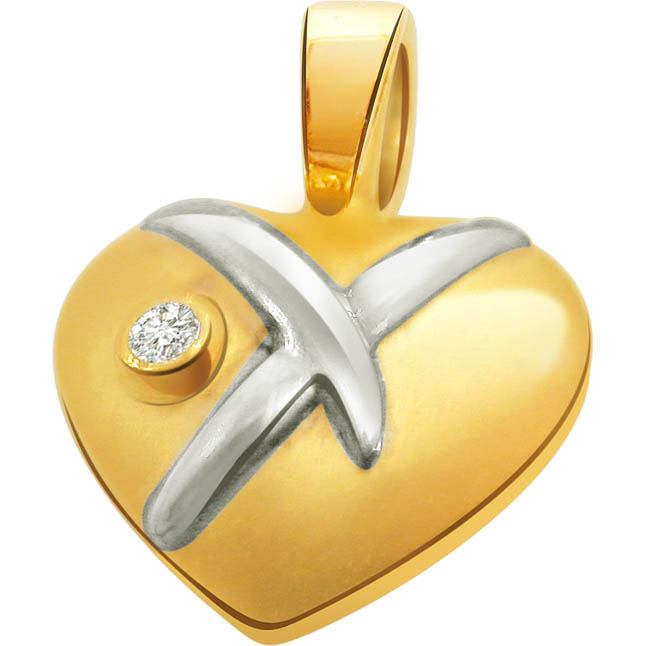 Plum Pudding Heart Shape Diamond Pendants in 18kt