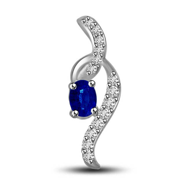 Sun Shine in Moon Light 0.36ct Tcw Oval Blue Sapphire & Diamond Pendants Set In 14kt White Gold