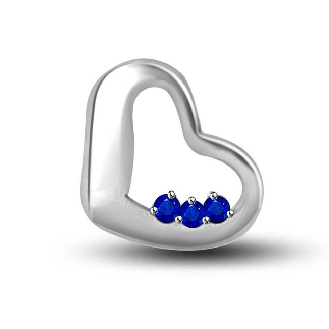 Love Is Blue:3 Round Sapphire 14kt White Gold Heart Pendants For Lovely Lady -Gemstone Pendants