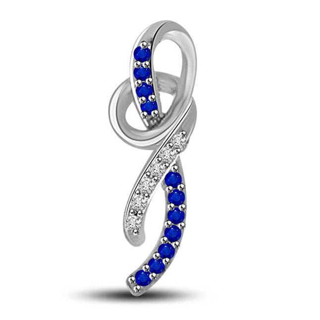 Love Hug:Row Of Blue Sapphire & Diamonds 14kt White Gold Pendants For Your Love