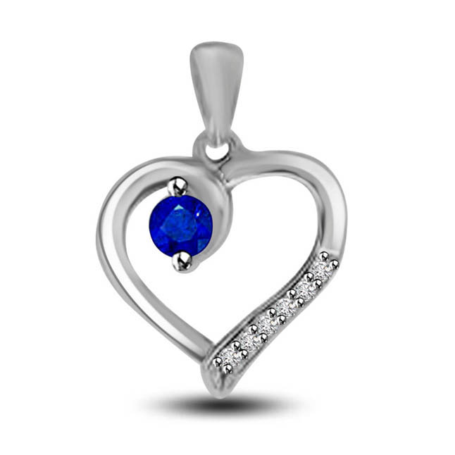 Bonded Love Solitaire Sapphire With Row Of Diamond White Gold Heart Pendants For Your Love