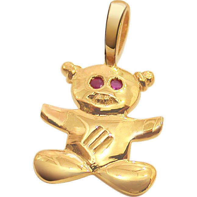Teddy Torte Ruby Pendants in 18kt gold -Dia+Gemstone