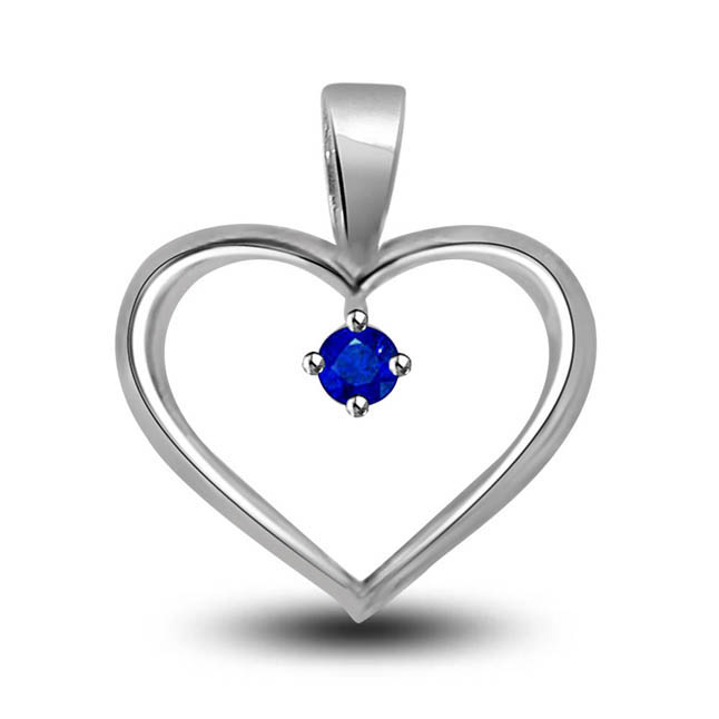 You Are The Only One:Blue Solitaire Sapphire Set In 14kt White Gold Heart Pendants -Gemstone Pendants
