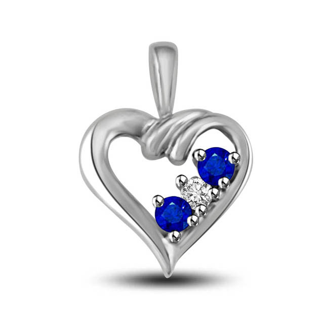 You,Me & Our Love:2 Sapphire With Center White Diamond 14kt Gold Heart Pendants